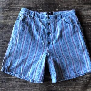 Vintage 80s striped denim shorts button fly
